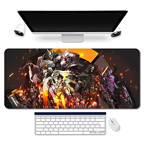 707602de - OW/Overwatch Mauspad Gaming Mousepad für PC Wars Gaming Large Table Mats (35.4×15.7 in / 90x40 cm) Support Customized,Extended Overwatch Mouse Mats Non-Slip Desk Pads genji Jesse·Mccree