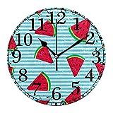 Reloj de pared Sandía Verano Fruta Azul Rayas blancas Reloj de acrílico redondo Negro Números grandes Reloj silencioso sin tictac Reloj decorativo retro con pilas para la biblioteca del hotel de la es