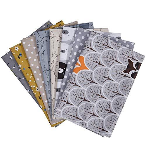 8 piezas cuadrados de tela de algodón floral para manualidades, suministros para hacer, acolchado, costura, retazos, paquetes de cuartos de grasa, tela para acolchar de algodón para hacer manualidades