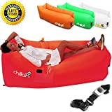 Chillax Inflatable Lounger - Best Air Lounger for Travelling, Camping, Hiking - Ideal Inflatable Couch for Pool and Beach Parties - Perfect Air Chair for Picnics or Festivals (Red)