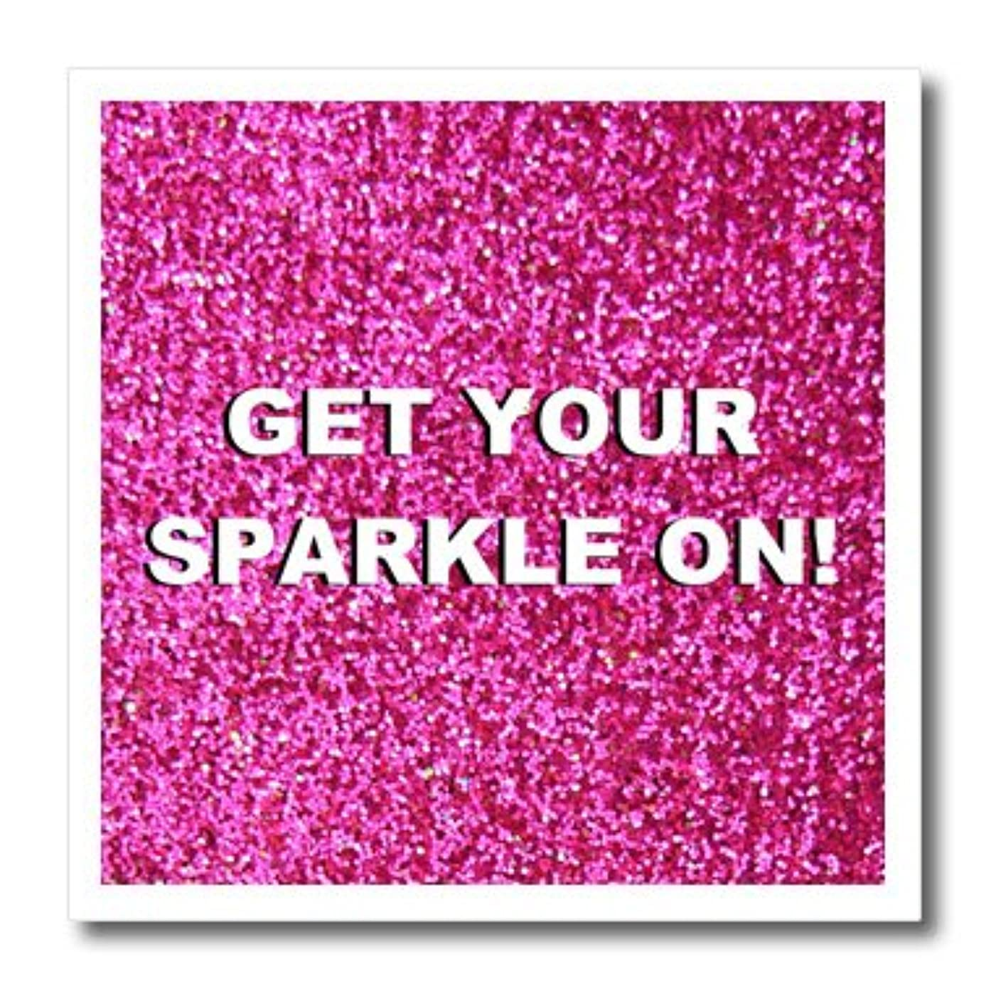 3dRose ht_112890_2 Get Your Sparkle On-Fun Girly Pink Faux Glitter-Not Actual Glitter-Iron on Heat Transfer for White Material, 6 by 6-Inch