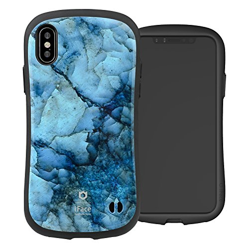 iFace First Class Marble Designed for iPhone X/XS – Cute Shockproof Dual Layer [Hard Shell + Bumper] Phone Case [Drop Tested] - Blue
