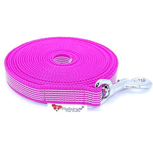 Twinkys Dog Style Made IN Germany Schleppleine Hundeleine gummiert 20 mm breit für Hunde bis 50 kg - OHNE Handschlaufe 10 Meter Pink