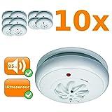 Juego de 10Detector de calor, 85Db, responde en A alta temperatura, 24h Protección, montaje inalámbrico