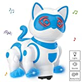 Vokodo Pet Robotic Dance Cat Interactive Kids Toy Kitty Walks Meows Sits With Lights And Music Friendly Electronic Robot Companion Bump And Go Action Play Great For Preschool Children Boy Girl Toddler