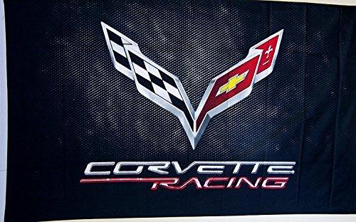 Corvette Racing Black C-7 Car Flag 3' X 5' Indoor Outdoor Auto Banner