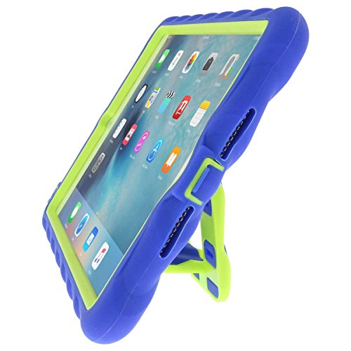 Gumdrop Hideaway Case with Kickstand for The Apple iPad Mini 4 Tablet for K-12 Students, Teachers, Kids - Royal Blue/Lime, Rugged, Shock Absorbing, Extreme Drop Protection
