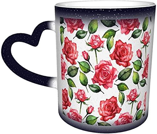 Flores de colores Romántico Rosa Acuarela Elegante Patrón floral Magia Sensible al calor Taza que cambia de color En el cielo Arte divertido Tazas de café Regalos personalizados para los ama