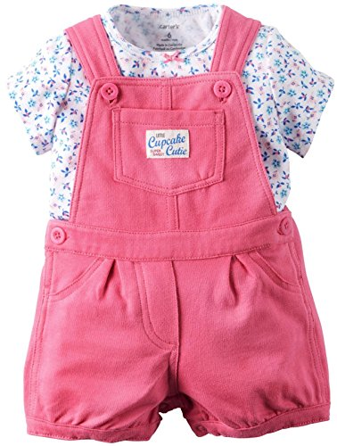Carters's Latzhose + T-Shirt 50/56 Sommer Set Baby Mädchen Shorts Outfit Girl Shorts US Size Newborn Girl Blumen,Punkte (50/56 (Newborn), rosa/blau)