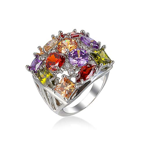 Gualiy Anillo de compromiso para mujer, chapado en plata con diamantes completos, Cubic Zirconia,