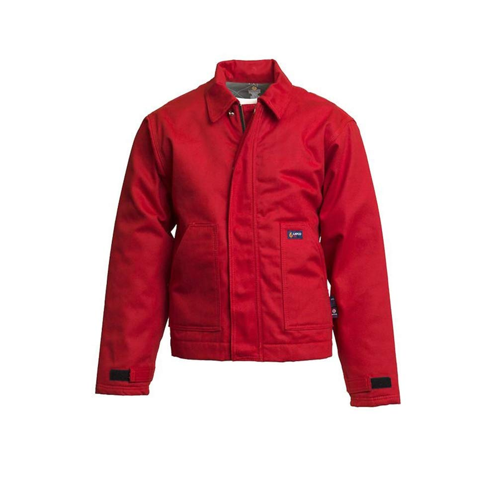 Lapco FR JTFRREDK-XL TL Flame Resistant Insulated Jacket, 12 oz, 100% Cotton Duck Outer, 100% Cotton Non-Woven Modacrylic Batting Quilted Lining, 11 oz, HRC 3, NFPA 70E, X-Large Tall, Red