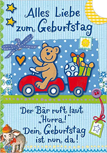 Geburtstagskarte für Kinder Basic Classic - Bär - 11,6 x 16,6 cm