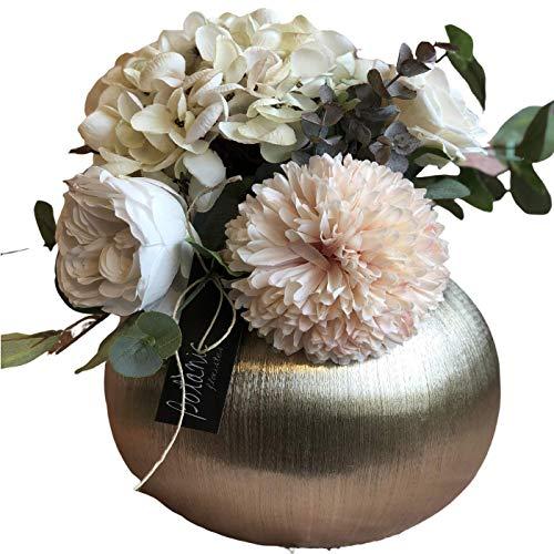 BOTANIC DESSIGN Ramo Flores Artificial JARRÓN Decorativo Incluido Arreglo Floral Artificial con Hortensia y Rosas Color Blanco Puro,Dalia Color Rosa Claro y Tallos de eucalipto para decoración hogar