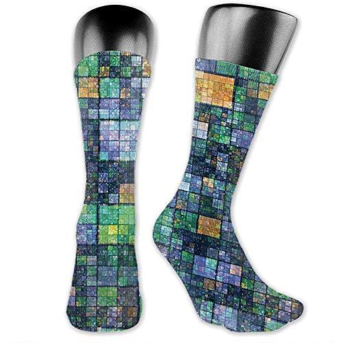 Mosaico Geomtrico Diseo Personalidad Moda Alto Rendimiento Hombres Mujeres Vestido Calcetines