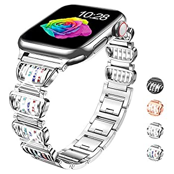 GamCap Replacement Strap Compatible with Apple Watch 38mm 40mm 42mm 44mm,Dressy Diamond Adjustable Metal Bracelet Watch Band for Apple Watch Series 6 Series 5 4 3 2 1 SE  SILVER-Fancy,42/44mm