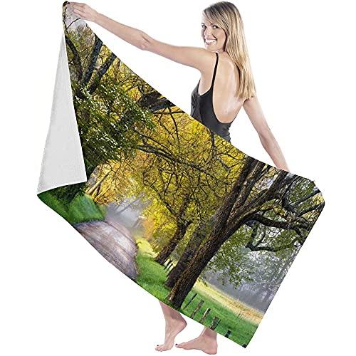 Toalla de Microfibra Secado rápido, Ligera, Absorbente, Suave y grante Yoga, Fitness, Playa, Gimnasio Camino Forestal 130X80cm