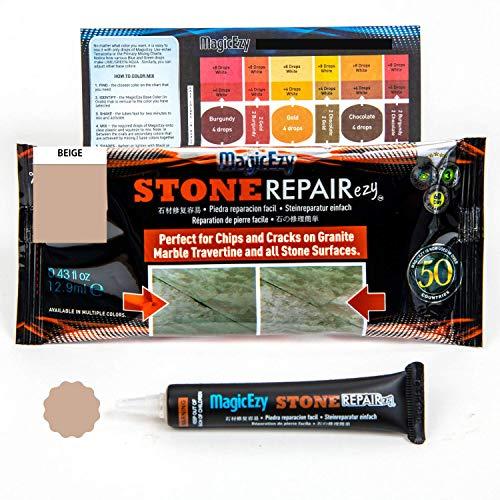 MagicEzy Stone RepairezyTM - Stone Fix - Granit und Marmor Rissreparaturset - Füllt und Farben schnell, beige