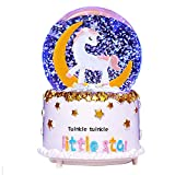 VECU Unicorn Snow Globe, 80 MM Automatic Snowfall Cartoon Moon Music Box Home Decoration for Girls Kids Granddaughters Babies Birthday Gift, Musical, Resin/Glass