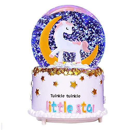 VECU Unicorn Snow Globe, 80 MM Automatic Snowfall Cartoon Moon Music Box Home Decoration for Girls Kids Granddaughters Babies Birthday Gift, Musical, Resin/Glass