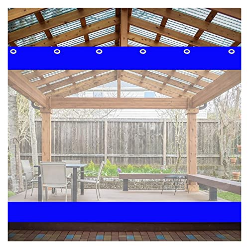 KUAIE Cortina Impermeable Lona Plástico Transparente, con Ojal Empalme for Pérgola, Porche, Kiosko, Personalizable (Color : Clear Blue, Size : 2x3m)