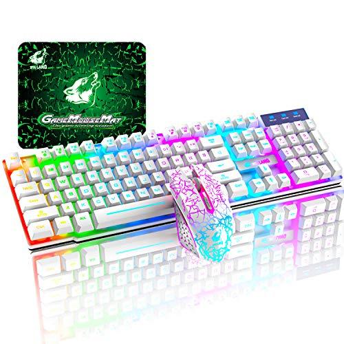 T3 Juego de teclado y ratón inalámbricos 2.4 G recargable de tacto mecánico impermeable con retroiluminación arco iris +2400 DPI ópticos de arco iris LED Ratón para juegos+Alfombrilla de ratón(Blanco)