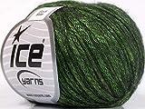 Rock Star, Green, Black, Shine, Soft Nylon Merino Wool Acrylic Blend Yarn, 50 Gram
