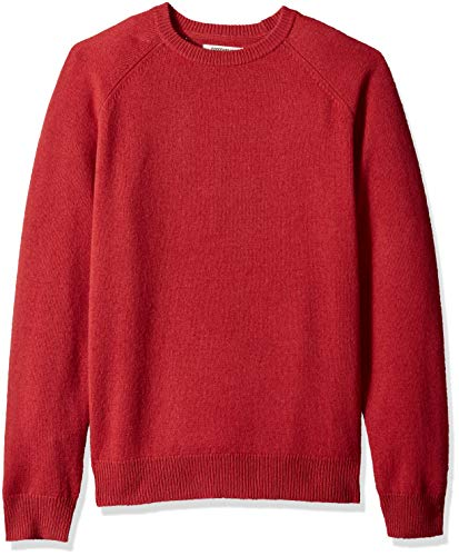 Amazon Brand - Goodthreads Men's Lambswool Stripe Crewneck Sweater, Washed red, X-Large