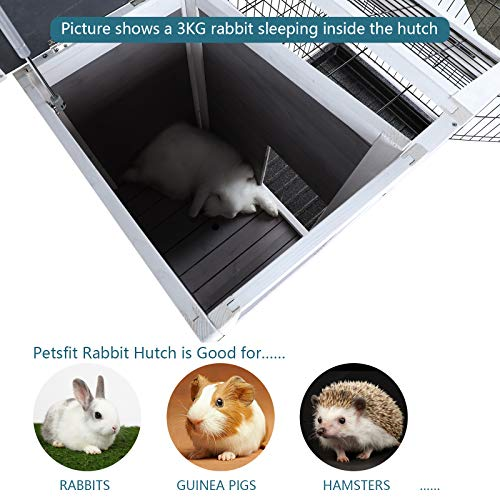 Petsfit Rabbit Hutch, Indoor Wood Bunny Cage with Pull Out Tray, Ideal House for Guinea Pig Chinchilla and Gerbil
