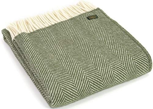 Tweedmill Textiles Fischgräten-Knieteppich, Überwurf, Decke, 100 % reine Schurwolle, hergestellt in Großbritannien, Olivgrün