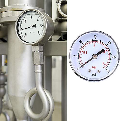Acogedor Manometer , 50mm Zifferblatt 1/8 BSPT Hinteranschluß Axialmanometer , für Luft , Wasser , Öl , Gas , etc.(0-30psi 0-2bar)