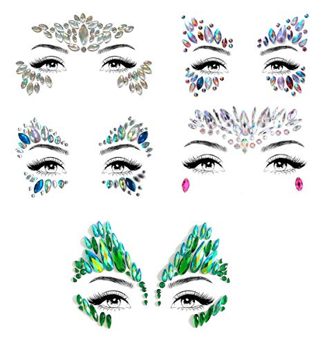 Mermaid Face Gems Glitter - Rhinestone Rave Festival Face Jewels, Bindi Crystals Face Stickers, Eyes Face Body Stickers for Music Festivals Bohemian By ASVP Shop (Set 4)