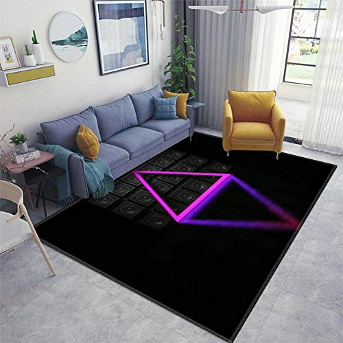 Home Area Runner Rug Pad Luminous Pyramid Against The Background of a Wall of Guitar amps Wall Thickened Non Slip Mats Doormat Entry Rug Floor Carpet for Living Room Indoor Outdoor Throw Rugs