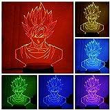 Dragon Ball Z Figura Super Saiyan God Goku Hero Accesorios -3D LED Luz de noche,3D illusion lamp, Lá...