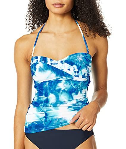 La Blanca Women's Bandeau Tankini Swimsuit Top, Blue//Glow Away, 6