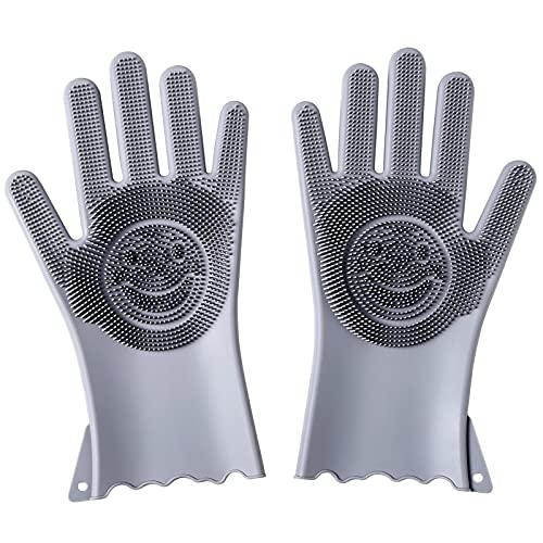 Dishwashing Gloves Kitchen Cleaning Gloves Reusable Multifunctional Silicone Gloves with Scrubbers for Washing Bathroom Cleaning Car Wash Pet Hair Combing