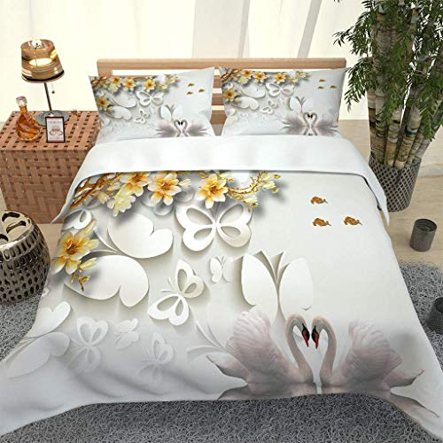 PKTMK 3D Digital Print Bedding Duvet Cover Sets with 2 Pillowcases Butterfly swan flower print Print Quilt Cover Sets Soft Microfiber Quilt Cover with Zipper Closure 230x220cm
