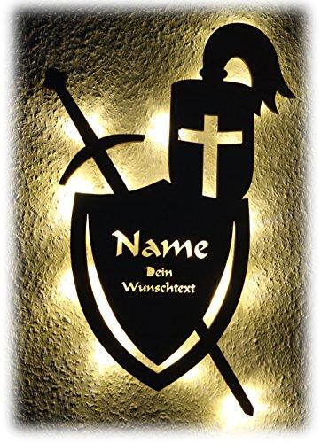 Schlummerlicht24 Licht & Deko Ritter Rüstung Helm Schwert und Schild I EIN LED Geschenk aus Holz mit Name personalisiert für Kinder & Erwachsene