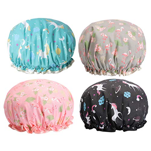 HEALLILY 4PCS Shower Cap Double Layer Bathing Hats Waterproof Mold Resistant Shower Hat Elastic Bath Caps for SPA Women and Girls