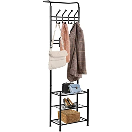 Industrial Coat Tree Hall Tree Free Standing Hall Shoes Rack with Removable Hooks Height 150 cm Brown sweethome Coat Rack Stand