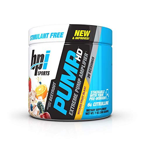 BPI Sports Pump HD, L-Citrulline/Beetroot/Betaine Anhydrous, 20 Servings, Wicked Fruit Blast, Stimulant Free