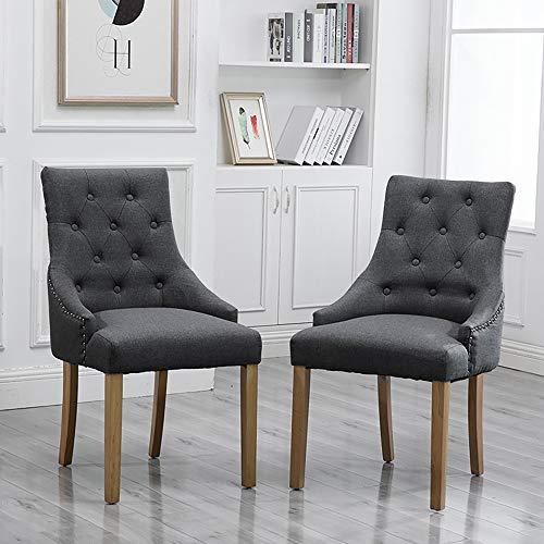 Juego de 2 sillas de comedor modernas de tela tapizadas con botones para decoración de cocina, restaurante, sala de estar, suave respaldo alto con brazos para dormitorio, vestíbulo, oficina, recepción