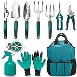 FiveJoy Garden Tool Set, 11 Piece Aluminum Alloy Steel Hand Tool Starter Kit with Garden Bag, Outdoor Tool, Heavy Duty Gardening Work Set with Ergonomic Handle, Gardening Tools for Women and Men
