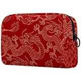 Neceseres para Maquillaje de niños Dragón Chino Rojo Animales Bonitos Bolsa de Almacenamiento de Viaje de Impresa Personalizada 18.5x7.5x13cm