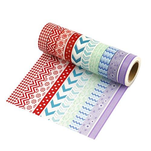 Nastro adesivo di carta Washi, set da 12 nero e oro per Scrapbooking fai-da-te (ogni rotolo 15 mm x 10 m) - Très Chic Mailanda, multicolore, Set da 10