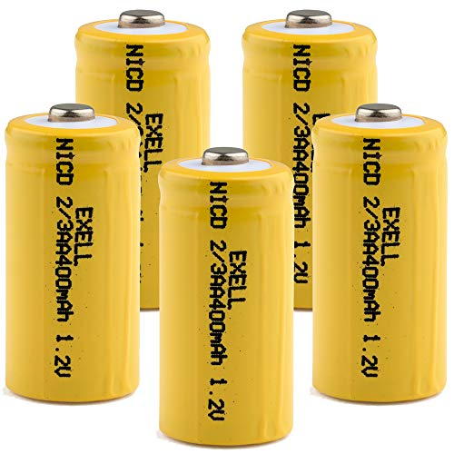 (5-PACK) Exell 1.2-Volt Nickel-Cadmium Rechargeable Button-Top Battery, 2/3 AA, 400 mAh, Battery Replacement for Audio Device, Digital Camera, electric mopeds, meters, radios, electric tools