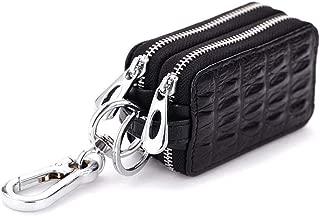 Genuine Leather Key Holder Wallet Men Keys Organizer Women Zipper Key Chain Case (Color : Red)