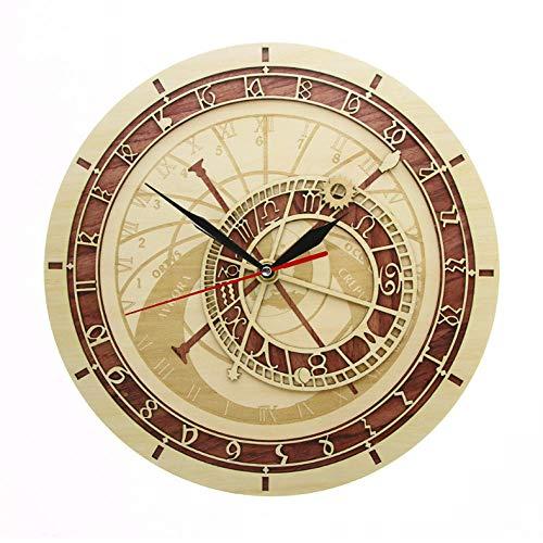 Djkaa Reloj astronómico de Praga en Madera República Checa Astronomía Medieval Arte de la Pared Astrología Reloj de Pared Decorativo Obra de Arte Regalo de Praga (12 Pulgadas)