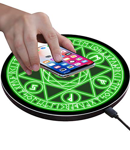 Wireless Charger Magic Qi 10W Wireless Charging Pad,7.5W Compatible with iPhone 11/11 Pro/11 Pro Max/Xs Max/XR/XS/X/8/8 Plus,10W Fast Charging S10/S10+/S9/S8/Note 10/10+/9/8 Green (No AC Adapter)