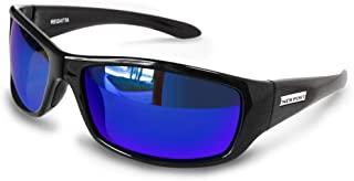 Regatta Bifocal Sunglasses Black Frame with Blue Mirror Polarized Lenses.