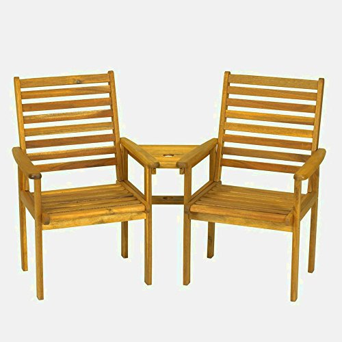XFACTOR DEAL LIMITED Hardwood Love Seat Wooden Garden Furniture Outdoor Companion Set Patio Outside 2 Seater Modern Small Luxury Balcony Natural &E Book
